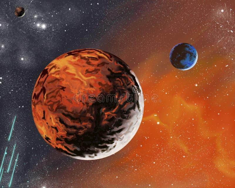 Pianeti e stelle sconosciuti nel sistema spaziale royalty illustrazione gratis