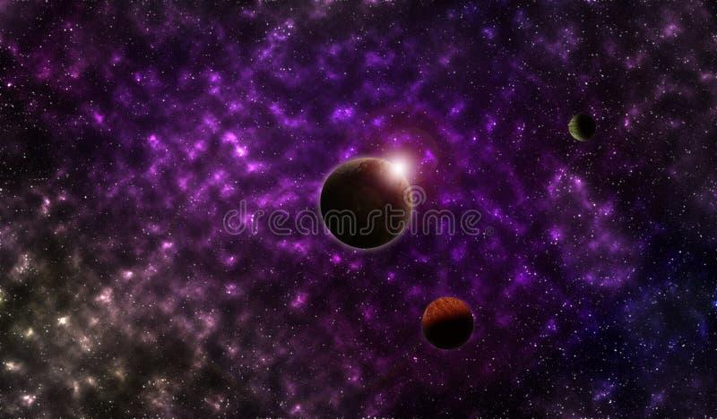 Pianeti nello spazio cosmico illustrazione vettoriale