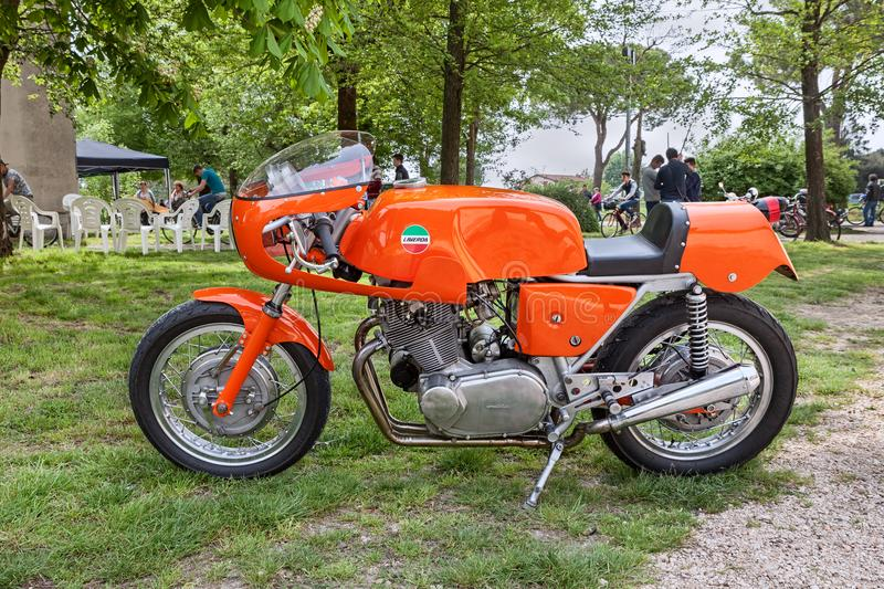 Vintage sports bike Laverda 750 SFC. Piangipane, Ravenna, Italy - April 25, 2015: vintage Italian sports bike Laverda 750 SFC in classic car and motorcycle rally stock images