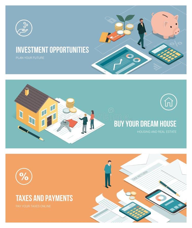 Piani ed investimenti finanziari illustrazione di stock