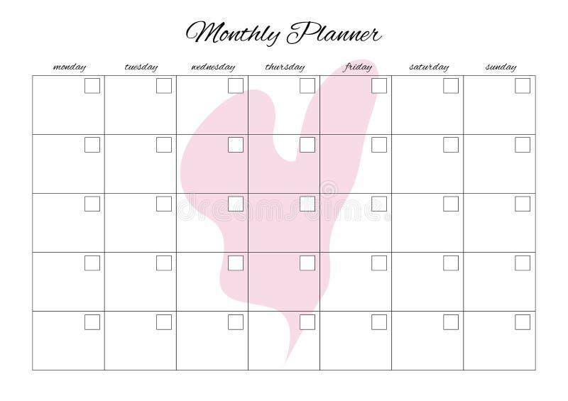 Pianificatore mensile universale per qualsiasi mese con i posti vuoti puliti Potete entrare nei vostri numeri Con cuore illustrazione vettoriale