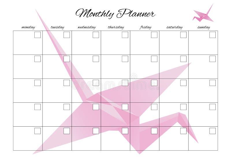 Pianificatore mensile universale per qualsiasi mese con i posti vuoti puliti Potete entrare nei vostri numeri Con gli origami illustrazione vettoriale