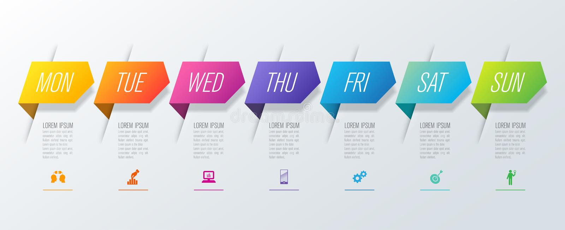 Pianificatore settimanale lunedì - icone di vettore e di affari di progettazione di domenica Infographics con 7 opzioni illustrazione vettoriale