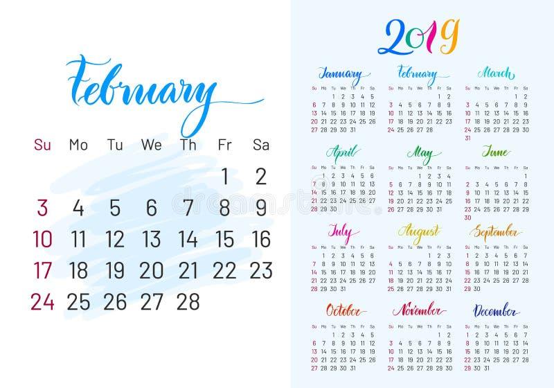 Pianificatore variopinto, 2019, febbraio esclusivamente royalty illustrazione gratis
