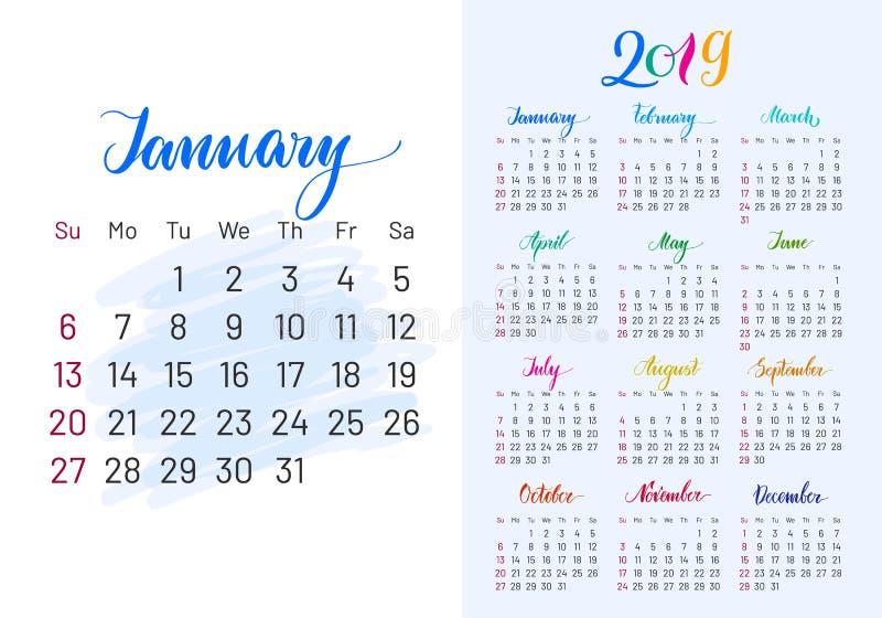 Pianificatore variopinto, 2019, gennaio esclusivamente illustrazione vettoriale