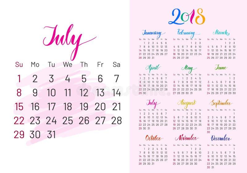 Pianificatore variopinto, 2018, luglio esclusivamente royalty illustrazione gratis