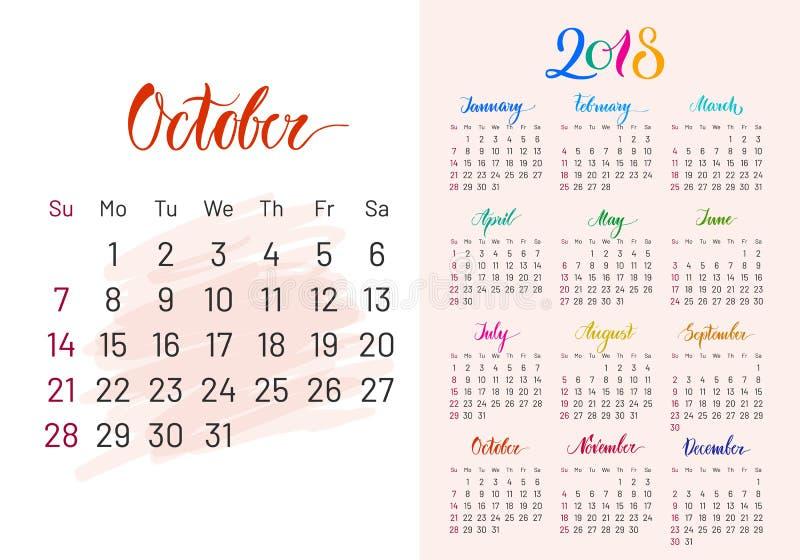 Pianificatore variopinto, 2018, ottobre esclusivamente illustrazione di stock