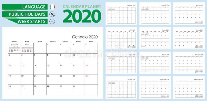Pianificazione del calendario italiano per il 2020 Lingua italiana, la settimana inizia dalla domenica illustrazione vettoriale