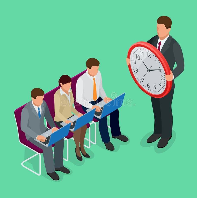 Pianificazione di concetto della gestione di tempo, organizzazione, concetto di orario di lavoro Illustrazione isometrica di vett illustrazione vettoriale