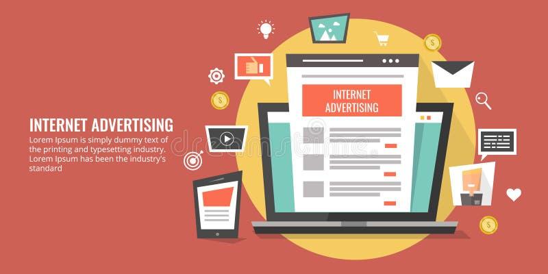 Pianificazione di media per la pubblicità di Internet, concetto online di promozione Insegna piana di vendita di vettore di proge royalty illustrazione gratis