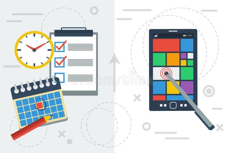Pianificazione di tempo con il app e la carta royalty illustrazione gratis