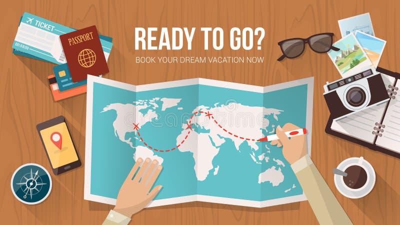 Pianificazione di viaggio illustrazione di stock