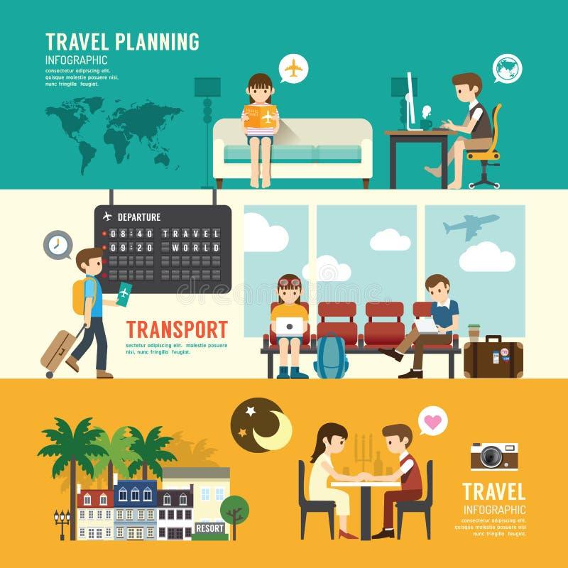 Pianificazione stabilita della gente di concetto di progetto di viaggio d'affari, cercante illustrazione vettoriale