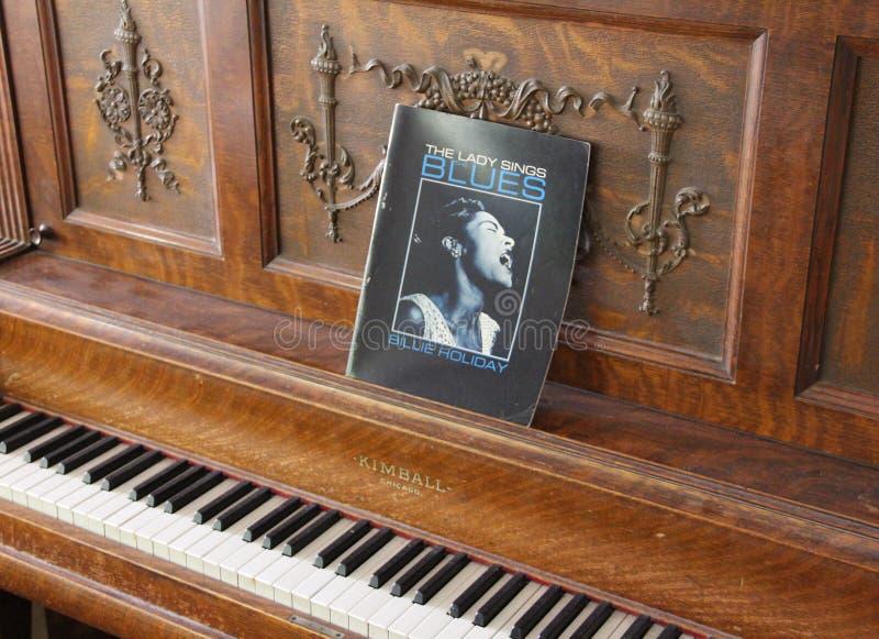 Pianino - dama Śpiewa błękity obrazy royalty free