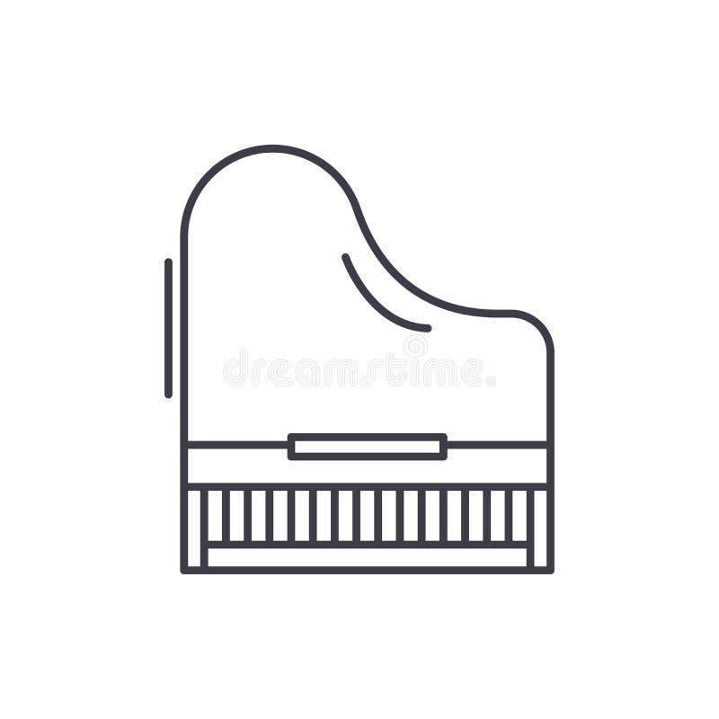 Pianino ikony kreskowy pojęcie Fortepianowa wektorowa liniowa ilustracja, symbol, znak ilustracja wektor