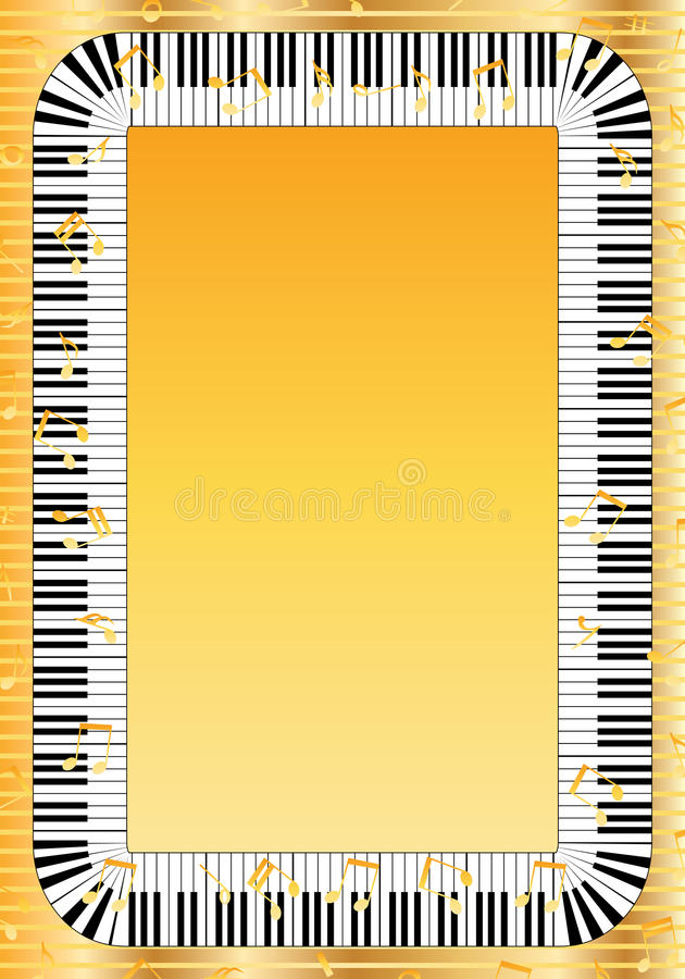 Pianino klucza rama ilustracji