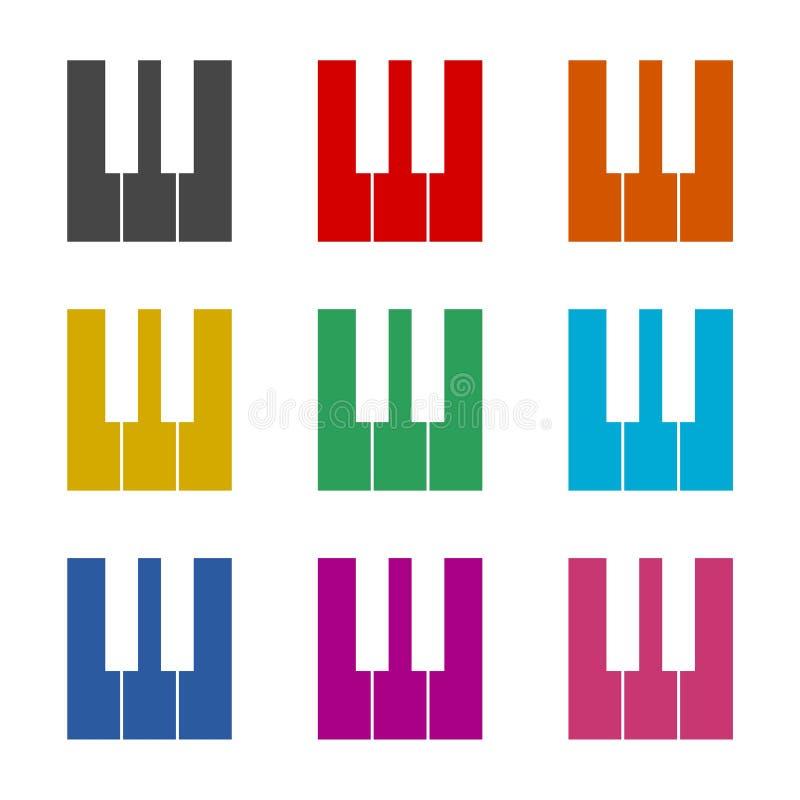 Pianino klucze płaska czarny i biały ikona lub logo, koloru set royalty ilustracja