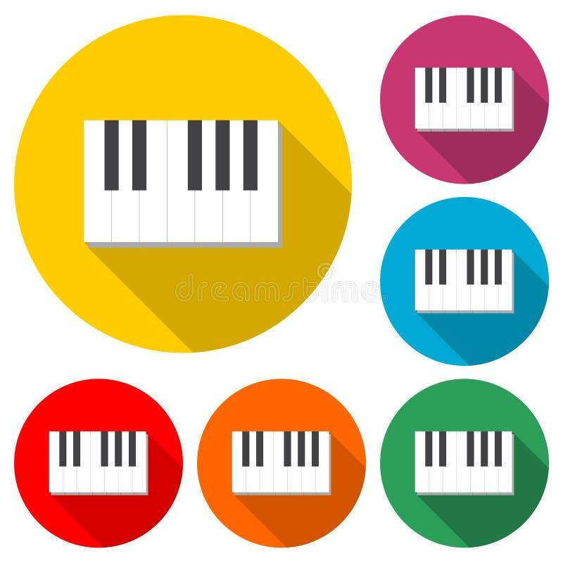 Pianino klucze płaska czarny i biały ikona lub logo, koloru set z długim cieniem royalty ilustracja