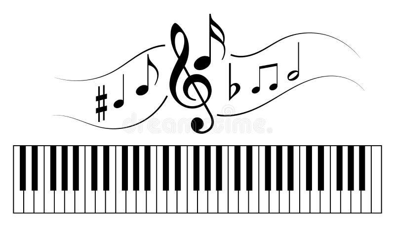 Pianino klucze z muzycznymi notatkami royalty ilustracja