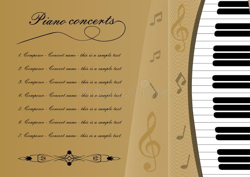 Pianino koncerta programa szablon z cięciem z klawiatury, treble clef i niektóre notatek, muzykalna ulotka, złoty tło royalty ilustracja