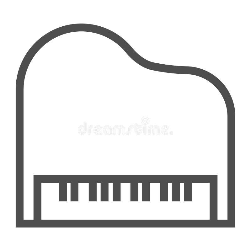 Pianino kreskowa ikona, musical i dźwięk, instrumentu znak, wektorowe grafika, liniowy wzór na białym tle royalty ilustracja