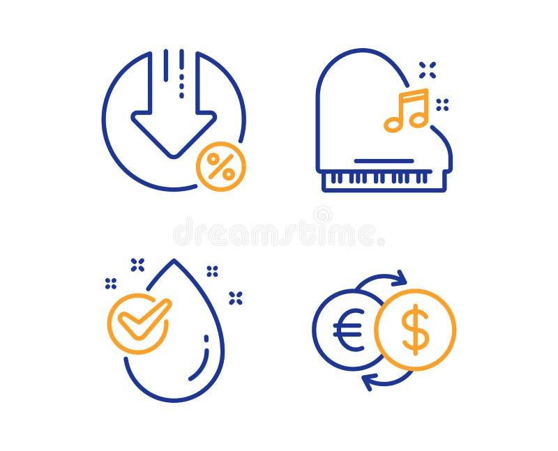 Pianino, Pożyczkowy procent i wod opadowe ikony ustawiać, Pieniądze wymiany znak Fortepiano, zmniejszania tempo, Czysty aqua wekt royalty ilustracja