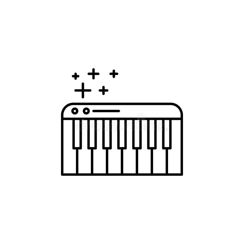 Pianino wpisuje ikonę Element nowego roku konturu oarty ikona Cienka kreskowa ikona dla strona internetowa projekta i rozwoju, ap ilustracja wektor
