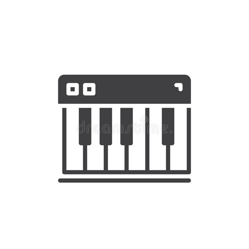 Pianino wpisuje ikona wektor, wypełniający mieszkanie znak, stały piktogram odizolowywający na bielu ilustracji