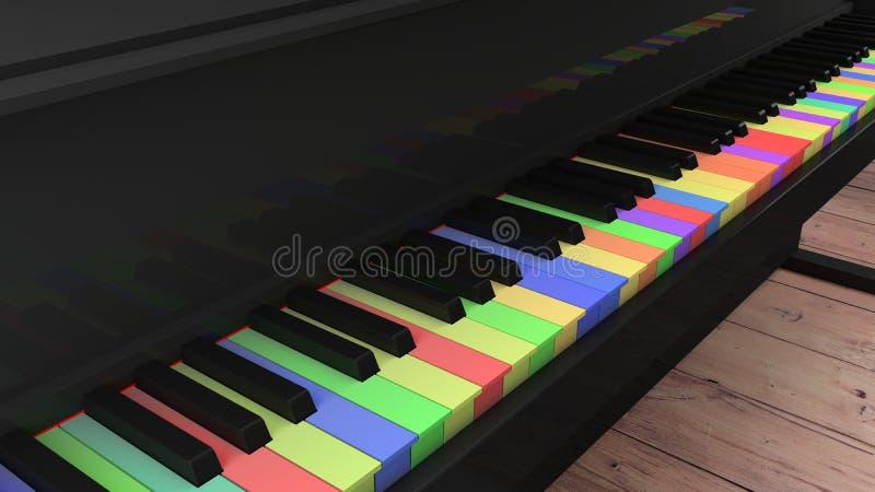 Pianino z differntly barwionymi kluczami na drewnianej podłoga ilustracji