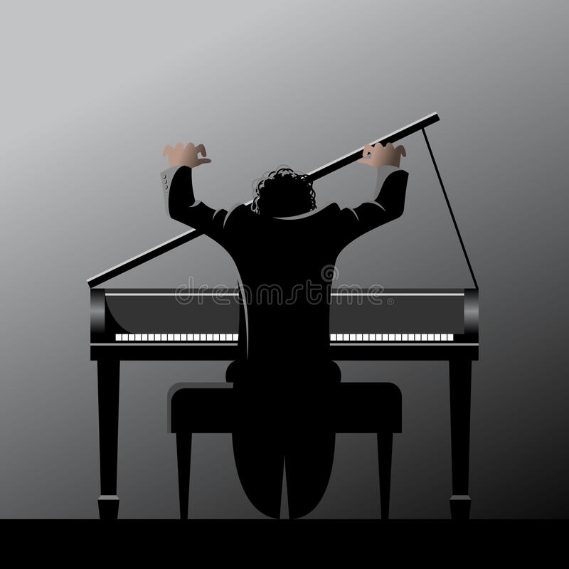 Pianist. Musician playing the grand piano royalty free illustration