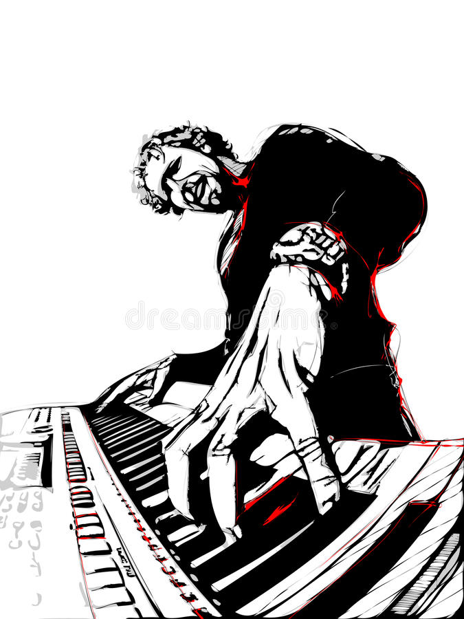Download Pianist stock vector. Illustration of retro, abstract - 28640224