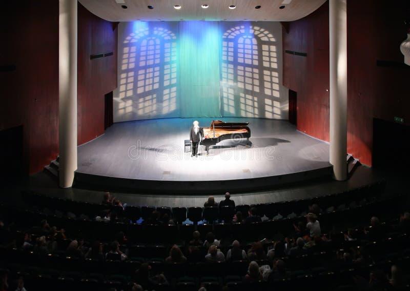Pianist auf Szene stockbild