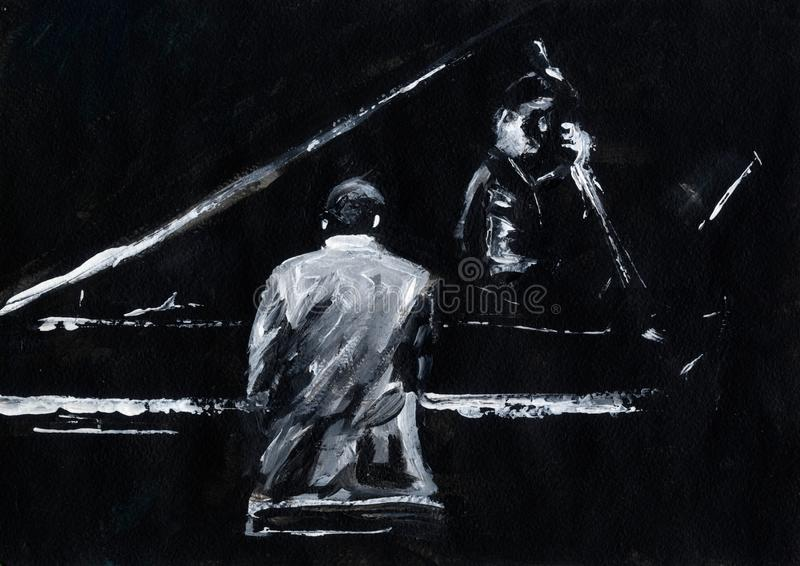 Pianist and contrabassist. Jazz band concert. Piano player and contrabass player perform on stage. Stylish black and white abstract painting. Back and side view vector illustration