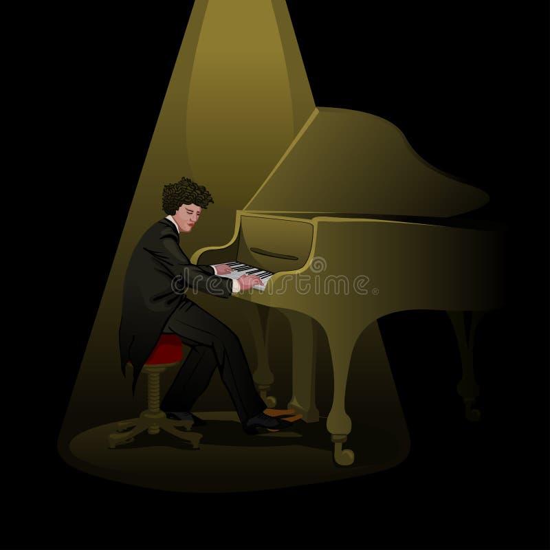 Pianist på etapp vektor illustrationer