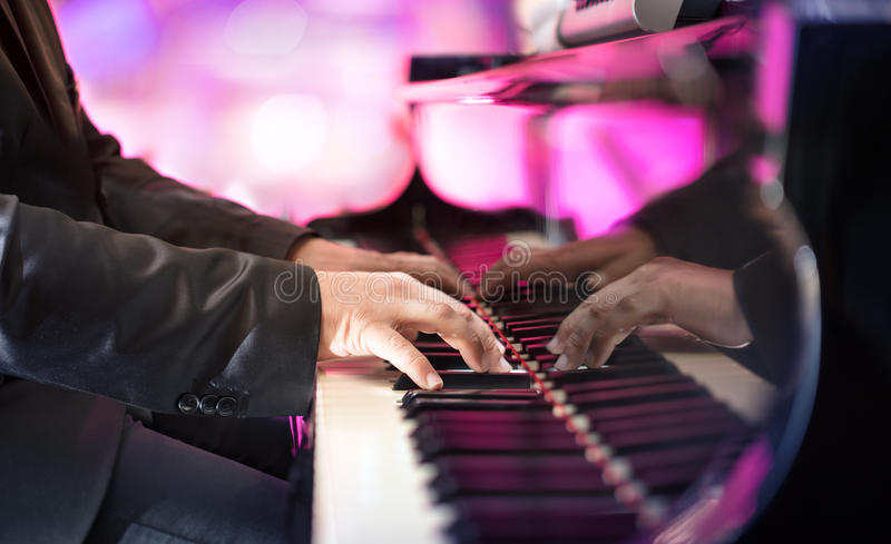 Pianist Playing Jazz Or Blues Music. With Grand Piano stock photography
