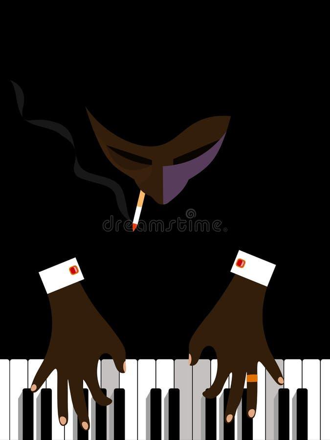 Pianist som spelar pianot stock illustrationer