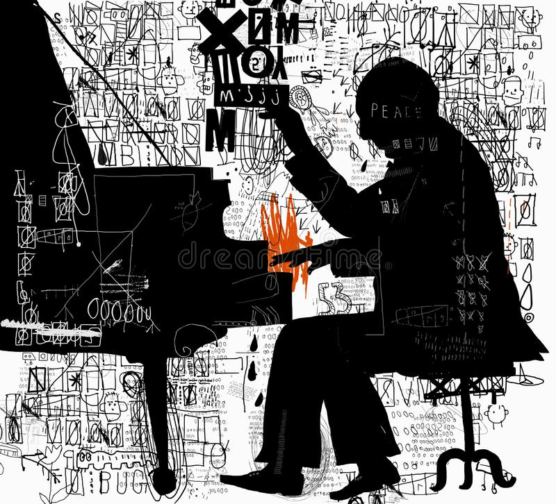 Pianist. The symbolic image of a man who plays the piano royalty free illustration