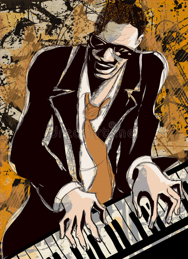 Pianista afroamericano del jazz stock de ilustración