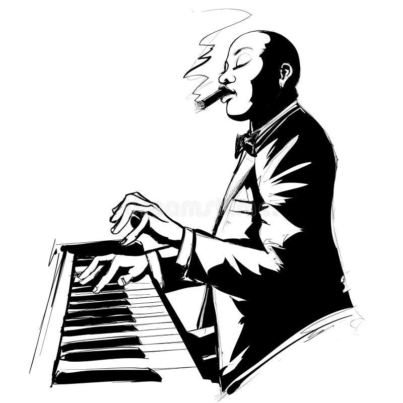 Pianista di jazz in bianco e nero illustrazione di stock