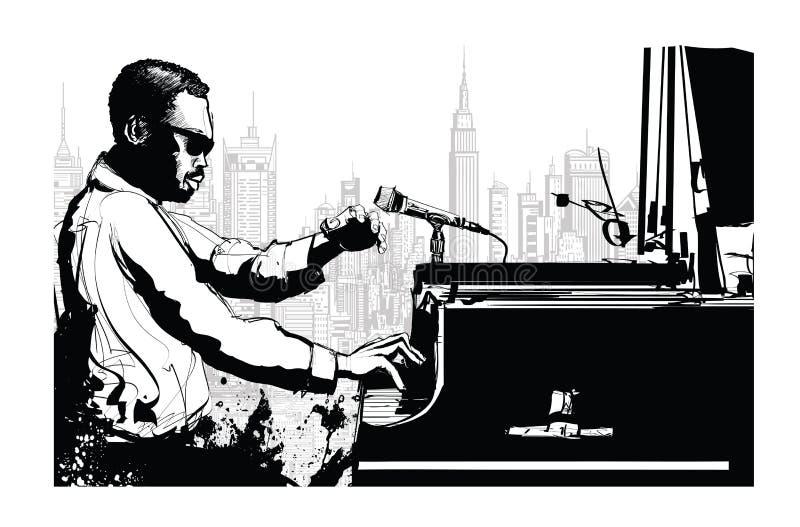 Pianista di jazz a New York illustrazione di stock