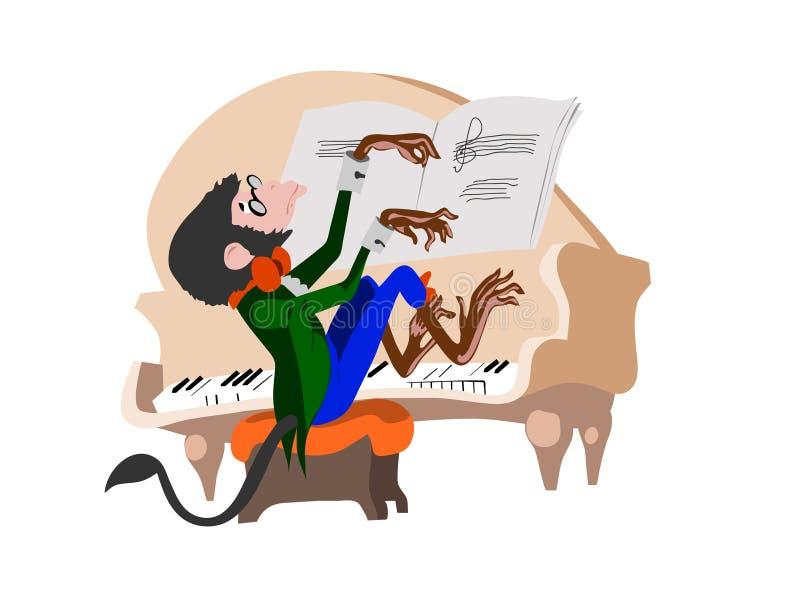 Pianista do macaco ilustração royalty free