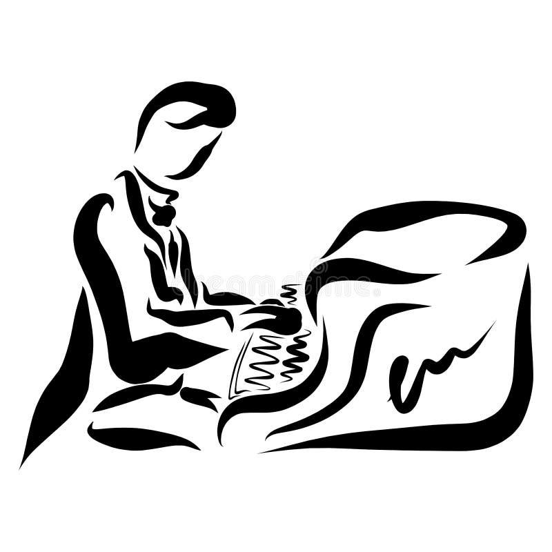 Pianista in marsina che gioca il piano, concerto classico illustrazione vettoriale