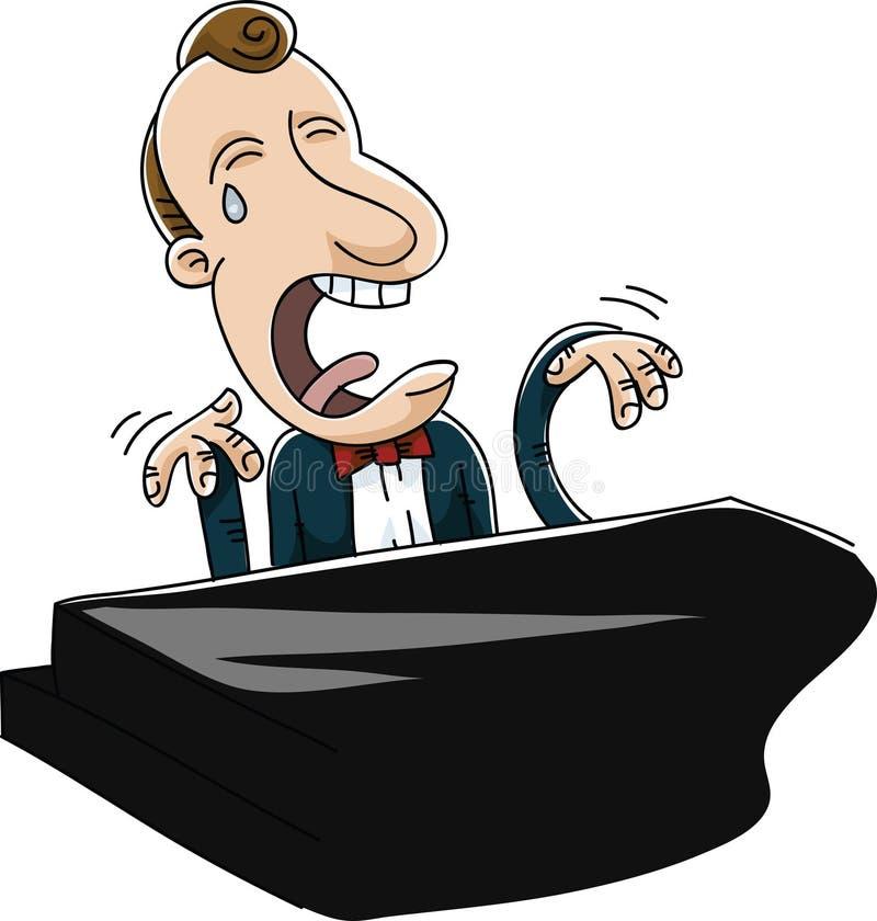 Pianista triste ilustración del vector