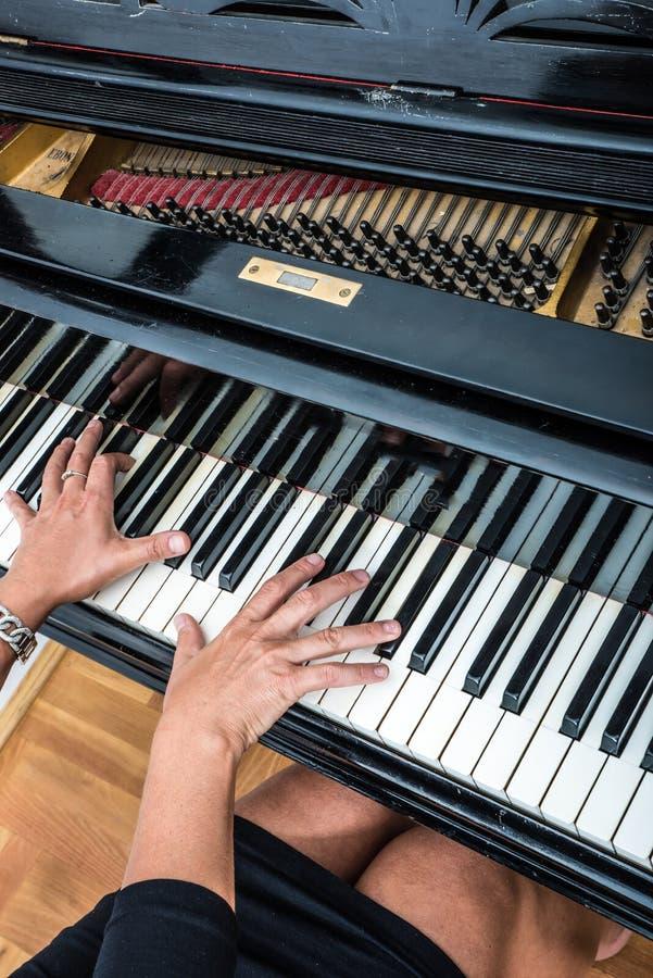 Pianiste avec l'instrument de musique classique de piano à queue image libre de droits