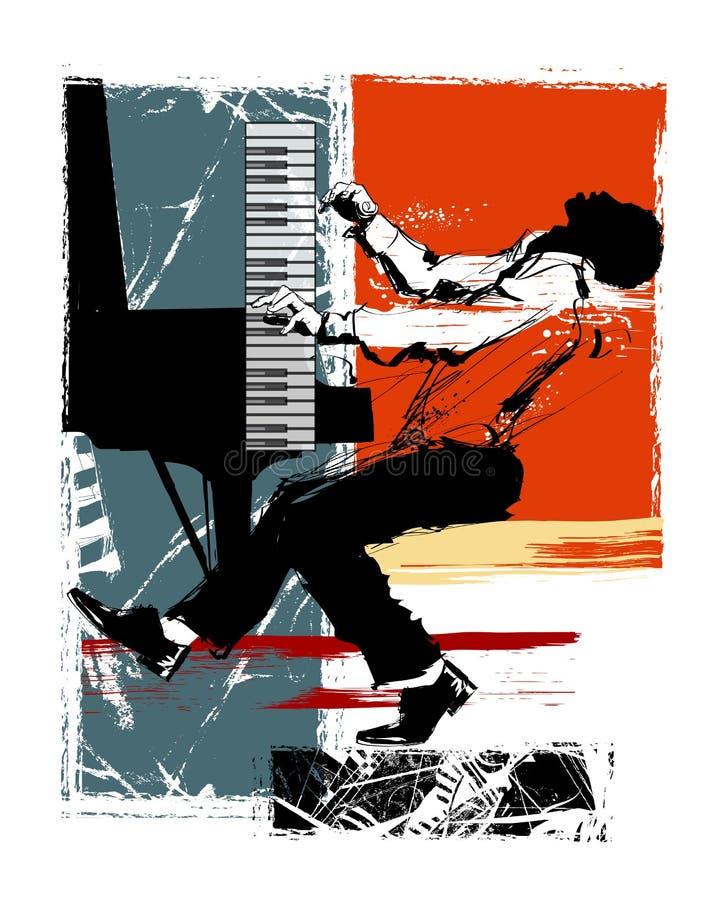 Pianiste de jazz sur un fond grunge illustration de vecteur