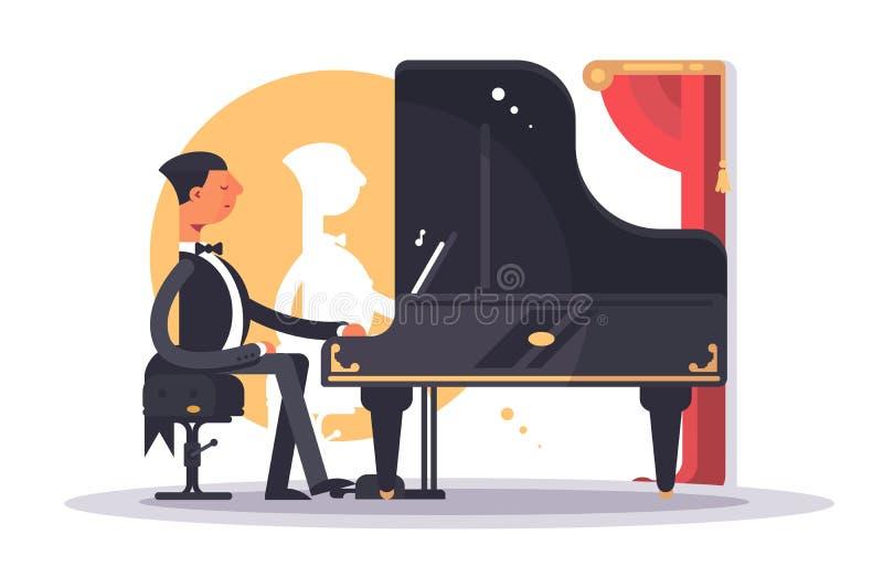 Pianistmens in het speellied van het luxekostuum royalty-vrije illustratie
