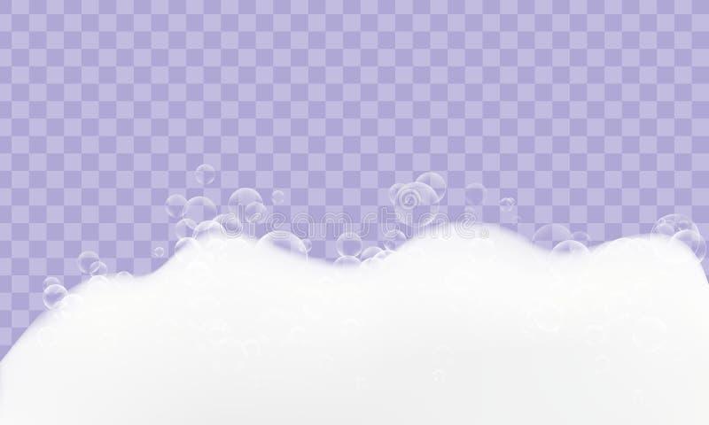 Piankowa realistyczna tekstura z bąblami odizolowywającymi na przejrzystym tle Ogolenie, gel, mydło, suds royalty ilustracja