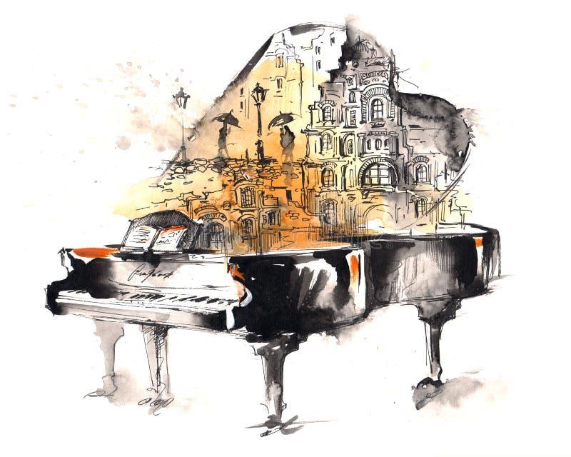 Piano à queue illustration stock