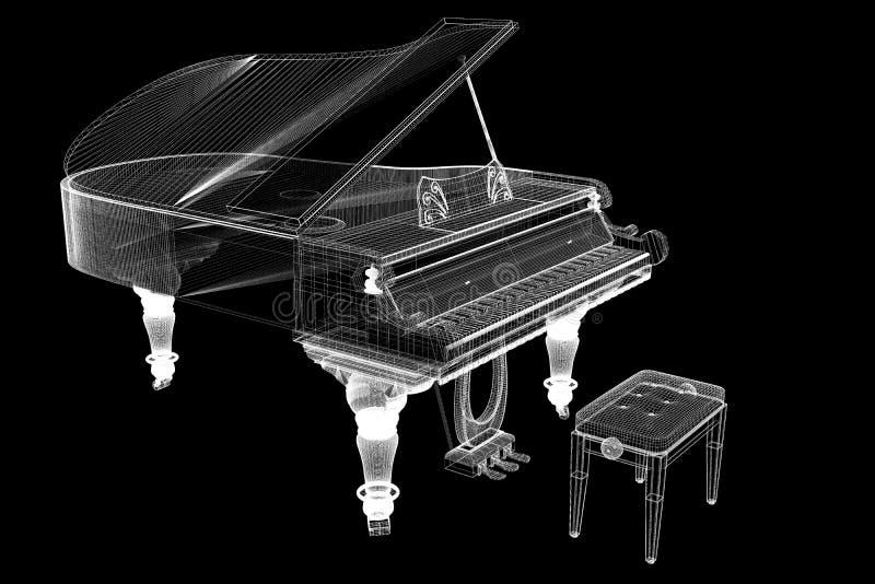 Piano à queue antique avec le chemin illustration stock