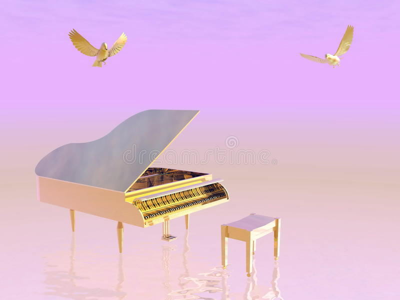 Piano à queue d'or - 3D rendent illustration stock